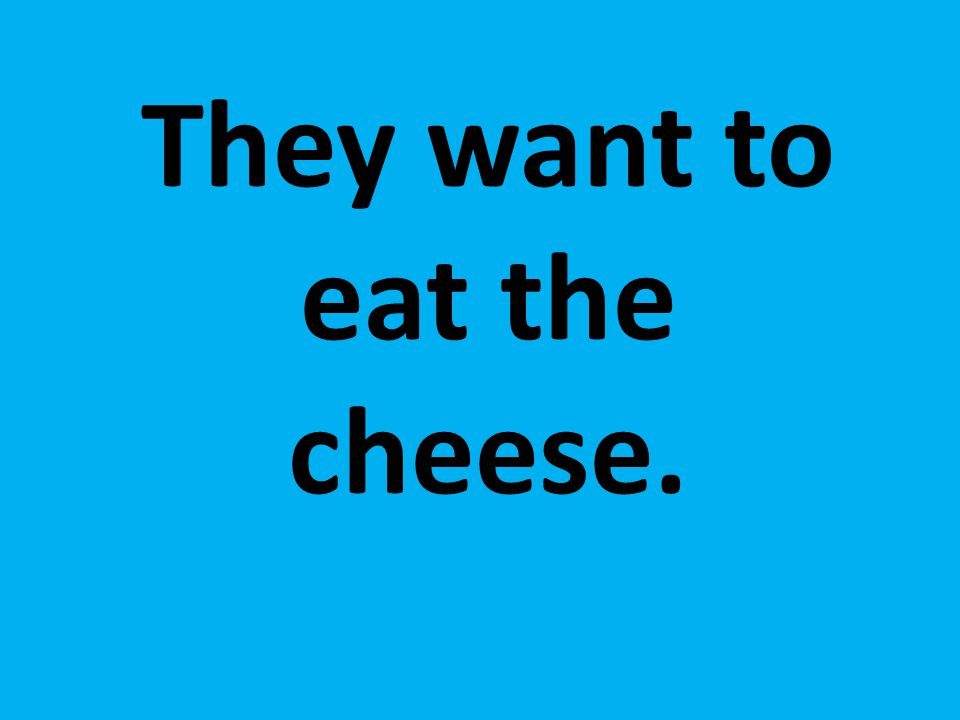 They want to eat the cheese.