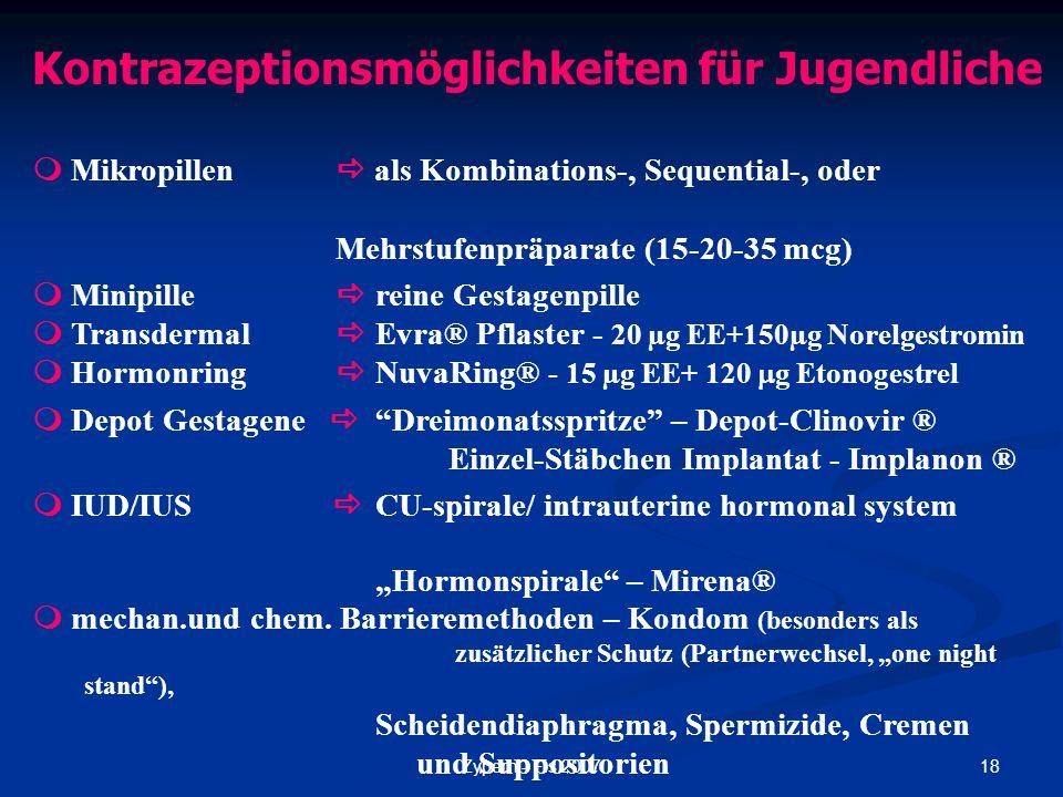 18Zypern - Fis 2007 Kontrazeptionsmöglichkeiten für Jugendliche  Mikropillen  als Kombinations-, Sequential-, oder Mehrstufenpräparate (15-20-35 mcg