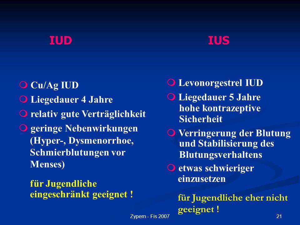 21Zypern - Fis 2007  Cu/Ag IUD  Liegedauer 4 Jahre  relativ gute Verträglichkeit  geringe Nebenwirkungen (Hyper-, Dysmenorrhoe, Schmierblutungen v