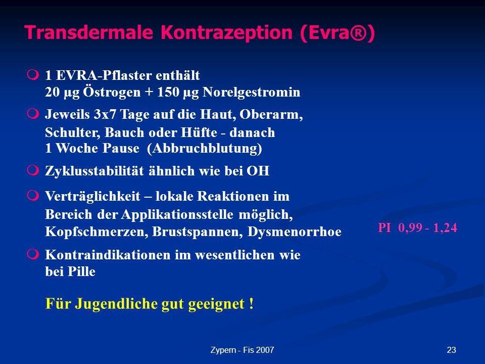 23Zypern - Fis 2007 Transdermale Kontrazeption (Evra®)  1 EVRA-Pflaster enthält 20 µg Östrogen + 150 µg Norelgestromin  Jeweils 3x7 Tage auf die Hau