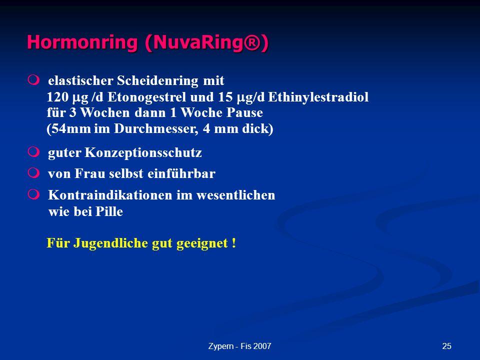 25Zypern - Fis 2007 Hormonring (NuvaRing®)  elastischer Scheidenring mit 120  g /d Etonogestrel und 15  g/d Ethinylestradiol für 3 Wochen dann 1 Wo