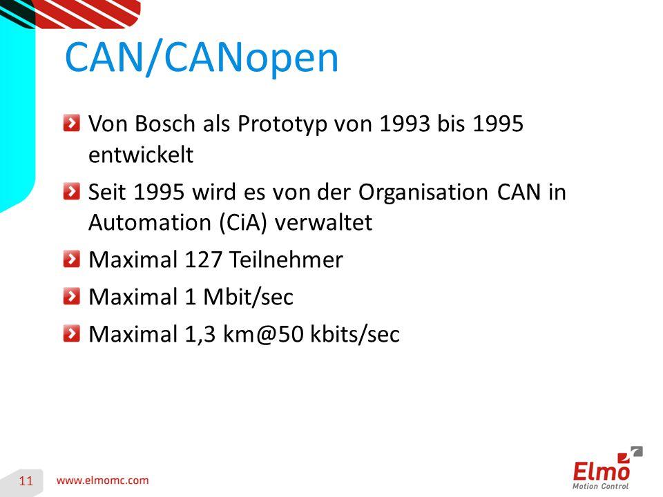 11 CAN/CANopen Von Bosch als Prototyp von 1993 bis 1995 entwickelt Seit 1995 wird es von der Organisation CAN in Automation (CiA) verwaltet Maximal 12