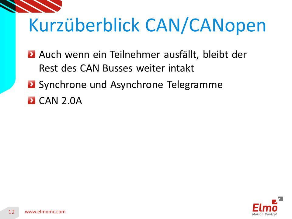 12 Kurzüberblick CAN/CANopen Auch wenn ein Teilnehmer ausfällt, bleibt der Rest des CAN Busses weiter intakt Synchrone und Asynchrone Telegramme CAN 2