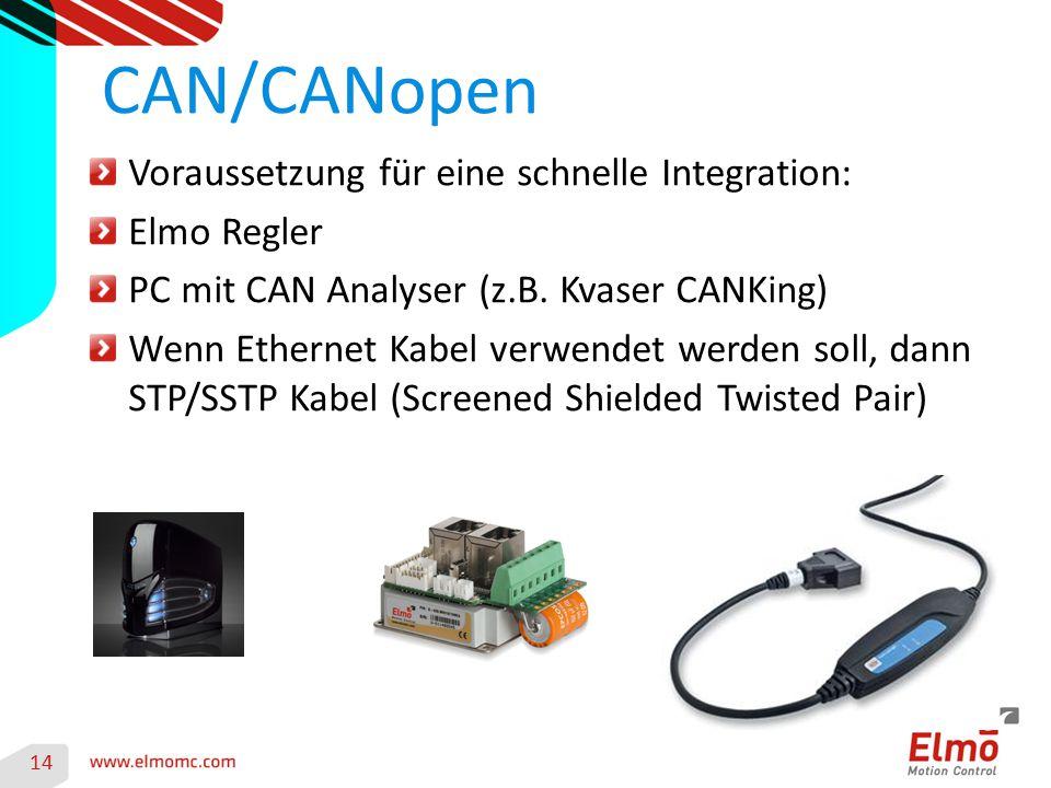 14 CAN/CANopen Voraussetzung für eine schnelle Integration: Elmo Regler PC mit CAN Analyser (z.B. Kvaser CANKing) Wenn Ethernet Kabel verwendet werden