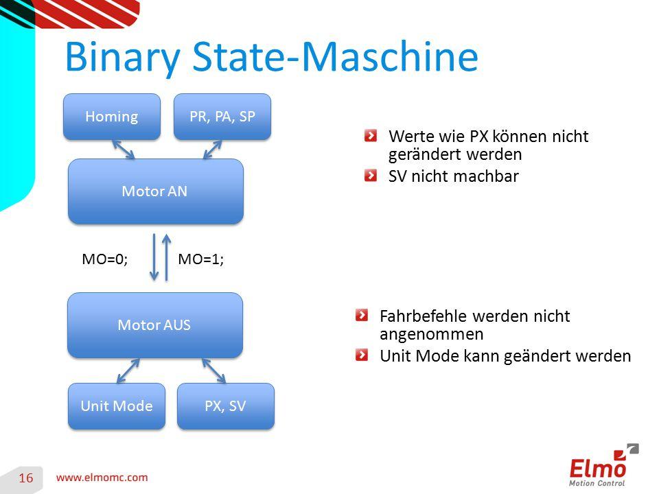 16 Motor AN Binary State-Maschine Motor AUS MO=1; Werte wie PX können nicht gerändert werden SV nicht machbar Fahrbefehle werden nicht angenommen Unit