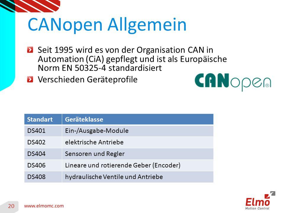 20 CANopen Allgemein Seit 1995 wird es von der Organisation CAN in Automation (CiA) gepflegt und ist als Europäische Norm EN 50325-4 standardisiert Ve