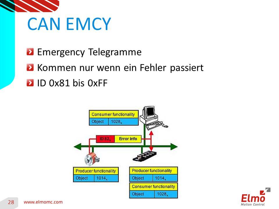 28 CAN EMCY Emergency Telegramme Kommen nur wenn ein Fehler passiert ID 0x81 bis 0xFF