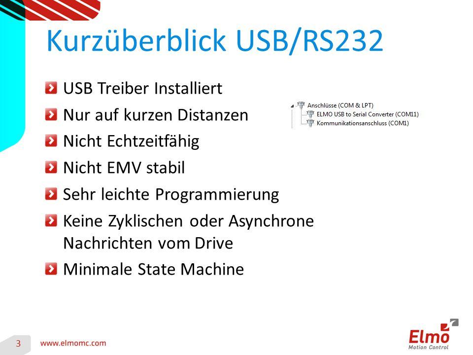 3 Kurzüberblick USB/RS232 USB Treiber Installiert Nur auf kurzen Distanzen Nicht Echtzeitfähig Nicht EMV stabil Sehr leichte Programmierung Keine Zykl