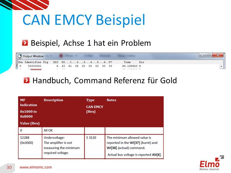 30 CAN EMCY Beispiel Beispiel, Achse 1 hat ein Problem Handbuch, Command Referenz für Gold
