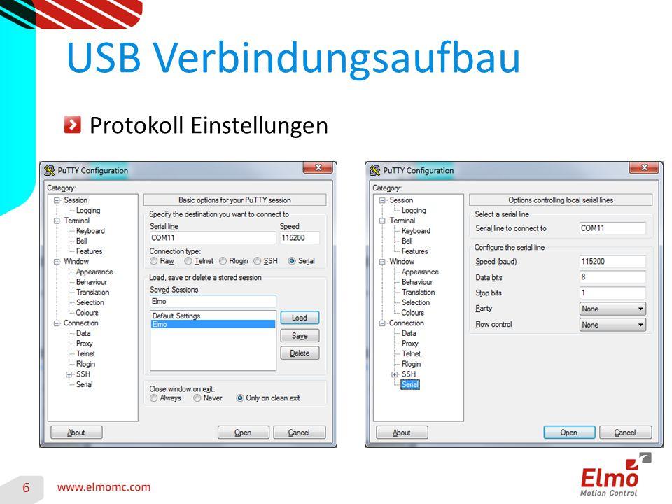 6 USB Verbindungsaufbau Protokoll Einstellungen