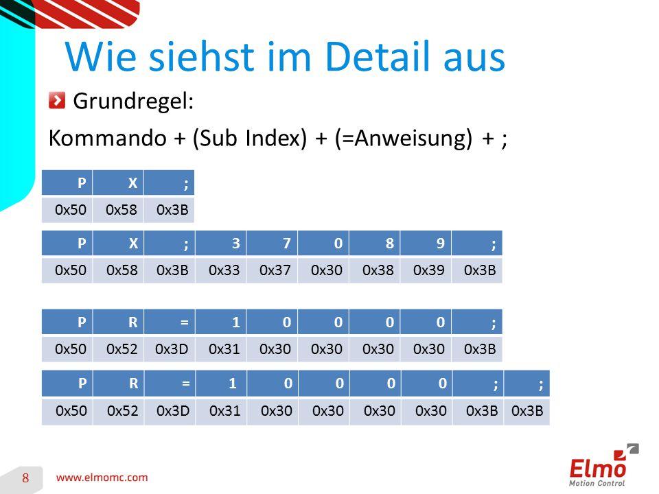 8 Wie siehst im Detail aus Grundregel: Kommando + (Sub Index) + (=Anweisung) + ; PX; 0x500x580x3B PX;37089; 0x500x580x3B0x330x370x300x380x390x3B PR=10