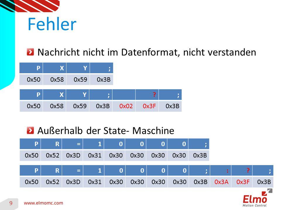 9 Fehler Nachricht nicht im Datenformat, nicht verstanden Außerhalb der State- Maschine PXY; 0x500x580x590x3B PXY;?; 0x500x580x590x3B0x020x3F0x3B PR=1
