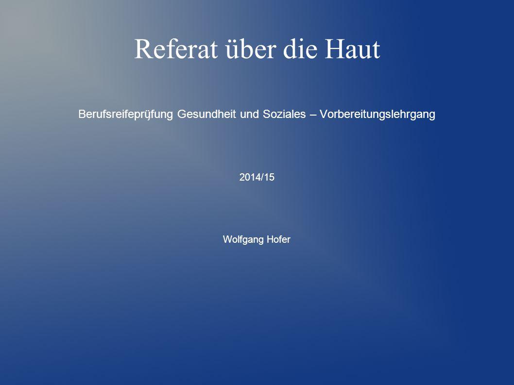Referat über die Haut Berufsreifeprü ̧ fung Gesundheit und Soziales – Vorbereitungslehrgang 2014/15 Wolfgang Hofer