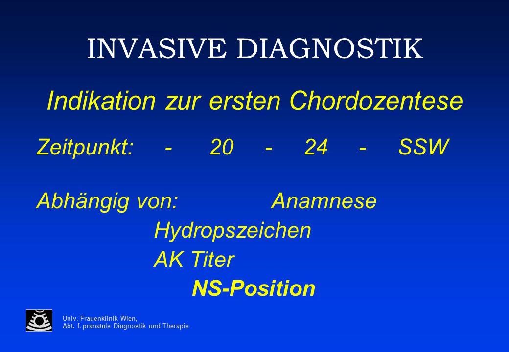 Univ. Frauenklinik Wien, Abt. f. pränatale Diagnostik und Therapie INVASIVE DIAGNOSTIK Indikation zur ersten Chordozentese Zeitpunkt: - 20 - 24 - SSW