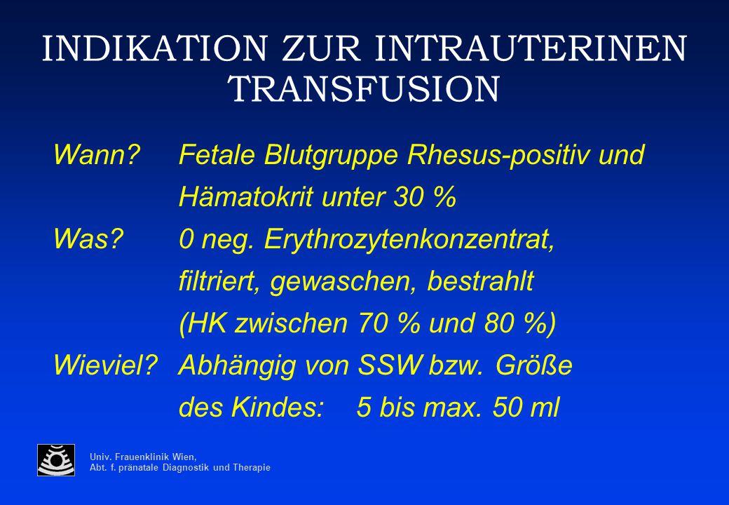 Univ. Frauenklinik Wien, Abt. f. pränatale Diagnostik und Therapie INDIKATION ZUR INTRAUTERINEN TRANSFUSION Wann? Fetale Blutgruppe Rhesus-positiv und