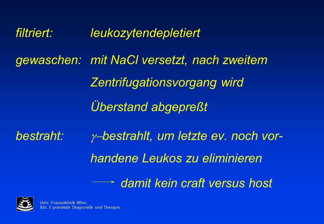 Univ. Frauenklinik Wien, Abt. f. pränatale Diagnostik und Therapie filtriert:leukozytendepletiert gewaschen:mit NaCl versetzt, nach zweitem Zentrifuga