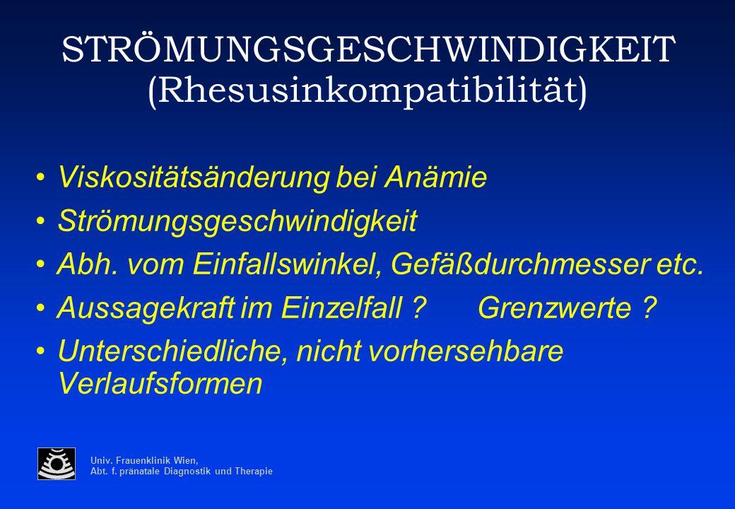 Univ. Frauenklinik Wien, Abt. f. pränatale Diagnostik und Therapie STRÖMUNGSGESCHWINDIGKEIT (Rhesusinkompatibilität) Viskositätsänderung bei Anämie St