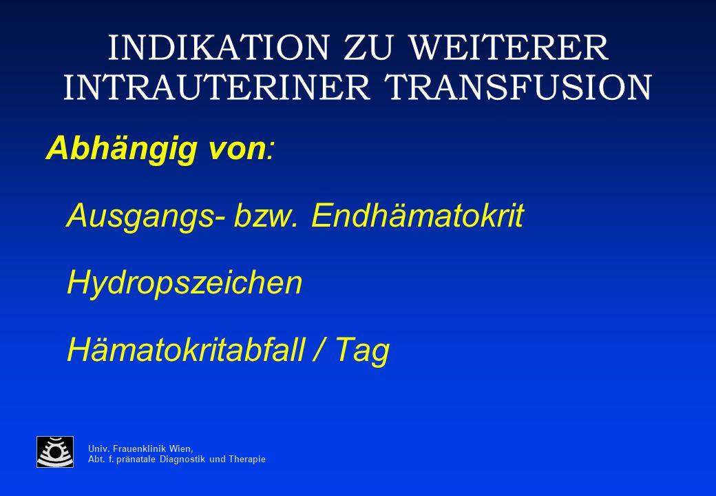 Univ. Frauenklinik Wien, Abt. f. pränatale Diagnostik und Therapie INDIKATION ZU WEITERER INTRAUTERINER TRANSFUSION Abhängig von: Ausgangs- bzw. Endhä
