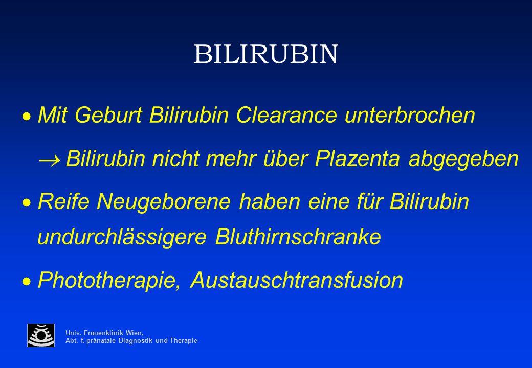 Univ. Frauenklinik Wien, Abt. f. pränatale Diagnostik und Therapie BILIRUBIN  Mit Geburt Bilirubin Clearance unterbrochen  Bilirubin nicht mehr übe