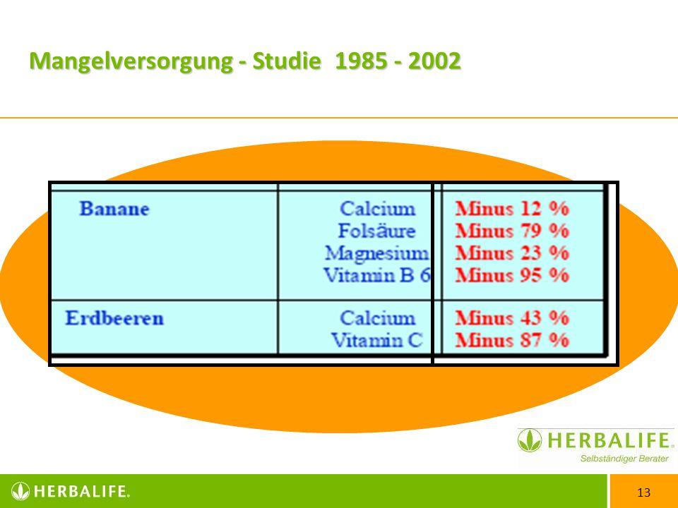 13 Mangelversorgung - Studie 1985 - 2002