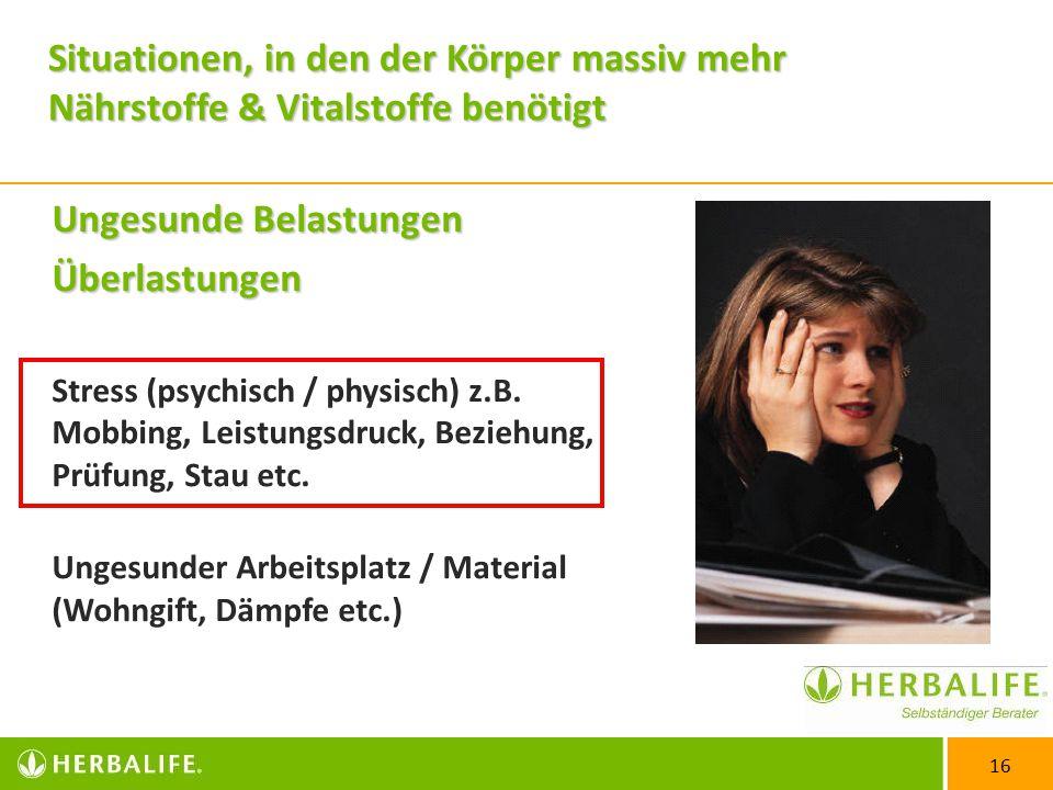 16 Ungesunde Belastungen Überlastungen Stress (psychisch / physisch) z.B.