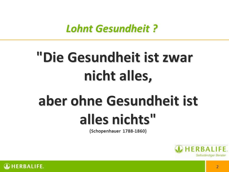 2 Die Gesundheit ist zwar nicht alles, aber ohne Gesundheit ist alles nichts Die Gesundheit ist zwar nicht alles, aber ohne Gesundheit ist alles nichts (Schopenhauer 1788-1860) Lohnt Gesundheit ?