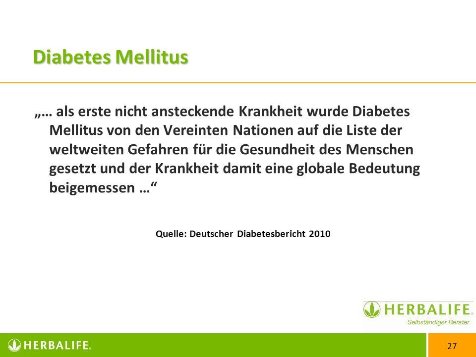 """27 Diabetes Mellitus """"… als erste nicht ansteckende Krankheit wurde Diabetes Mellitus von den Vereinten Nationen auf die Liste der weltweiten Gefahren für die Gesundheit des Menschen gesetzt und der Krankheit damit eine globale Bedeutung beigemessen … Quelle: Deutscher Diabetesbericht 2010"""