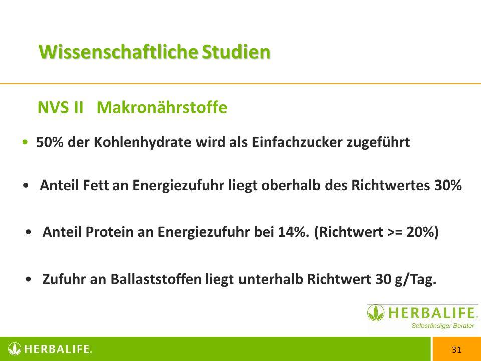 31 NVS II Makronährstoffe 50% der Kohlenhydrate wird als Einfachzucker zugeführt Anteil Fett an Energiezufuhr liegt oberhalb des Richtwertes 30% Anteil Protein an Energiezufuhr bei 14%.