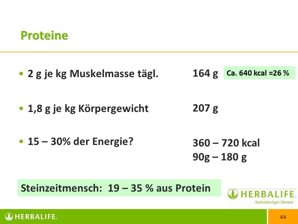 44 Proteine 2 g je kg Muskelmasse tägl.1,8 g je kg Körpergewicht 15 – 30% der Energie.