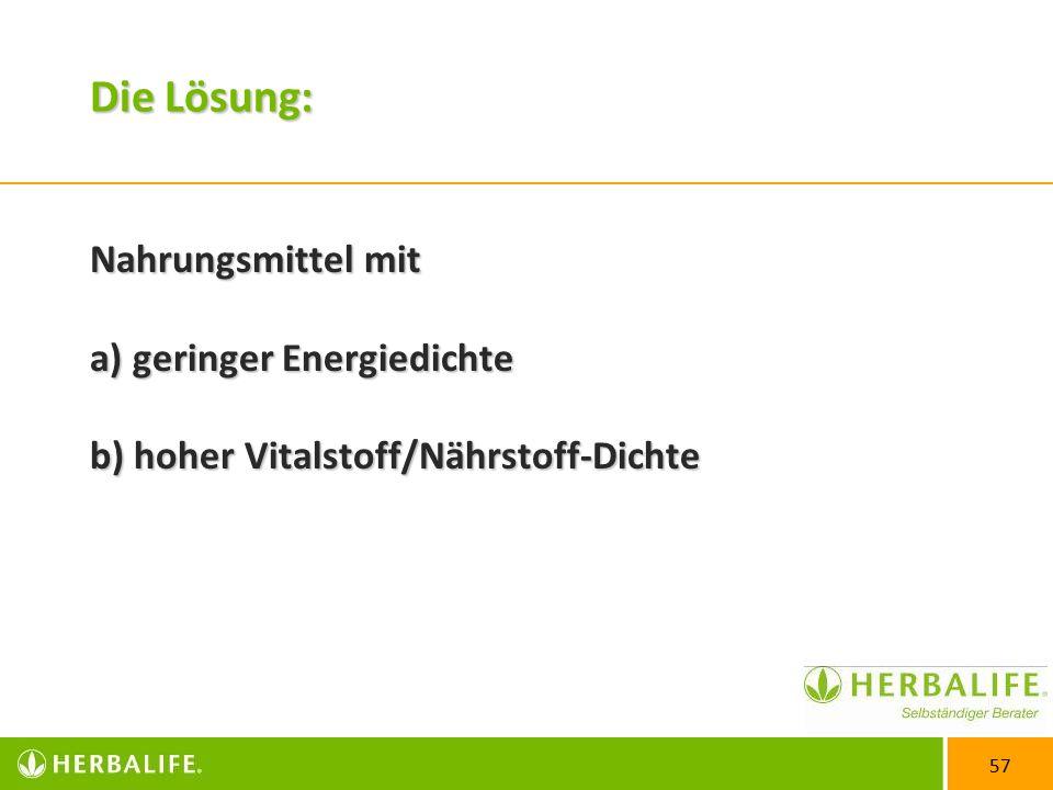 57 Die Lösung: Nahrungsmittel mit a) geringer Energiedichte b) hoher Vitalstoff/Nährstoff-Dichte