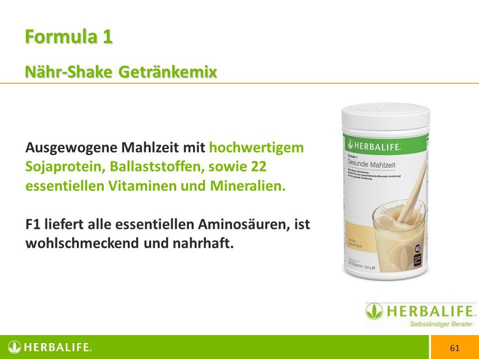61 Ausgewogene Mahlzeit mit hochwertigem Sojaprotein, Ballaststoffen, sowie 22 essentiellen Vitaminen und Mineralien.