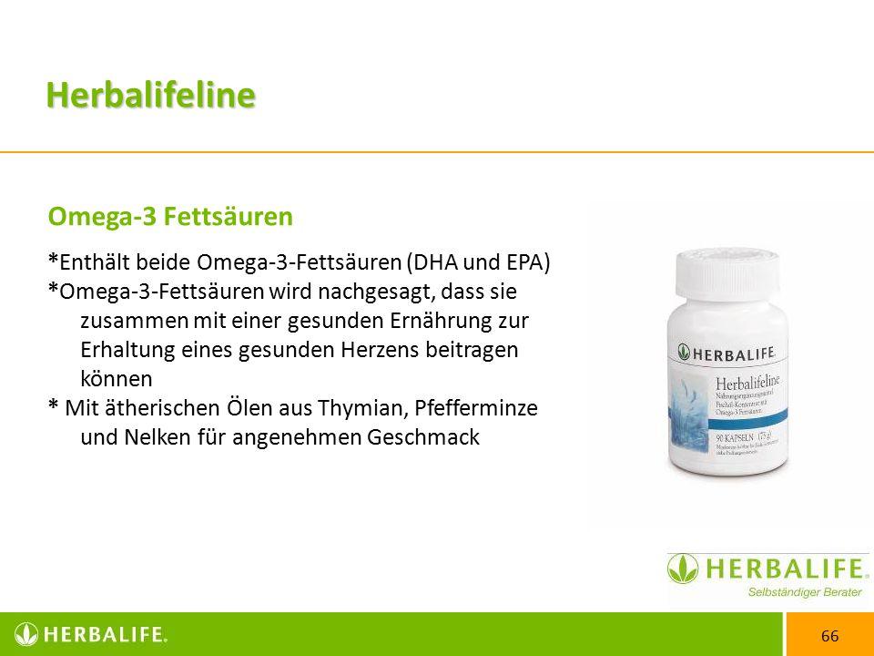 66 Omega-3 Fettsäuren *Enthält beide Omega-3-Fettsäuren (DHA und EPA) *Omega-3-Fettsäuren wird nachgesagt, dass sie zusammen mit einer gesunden Ernährung zur Erhaltung eines gesunden Herzens beitragen können * Mit ätherischen Ölen aus Thymian, Pfefferminze und Nelken für angenehmen Geschmack Herbalifeline
