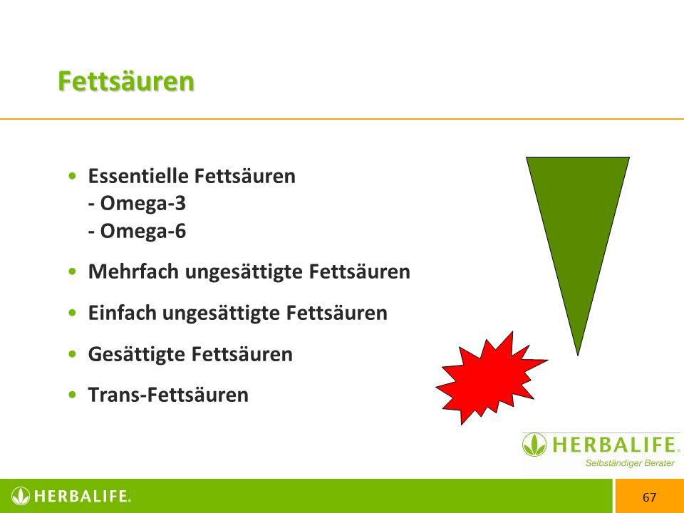 67 Fettsäuren Essentielle Fettsäuren - Omega-3 - Omega-6 Mehrfach ungesättigte Fettsäuren Einfach ungesättigte Fettsäuren Gesättigte Fettsäuren Trans-Fettsäuren