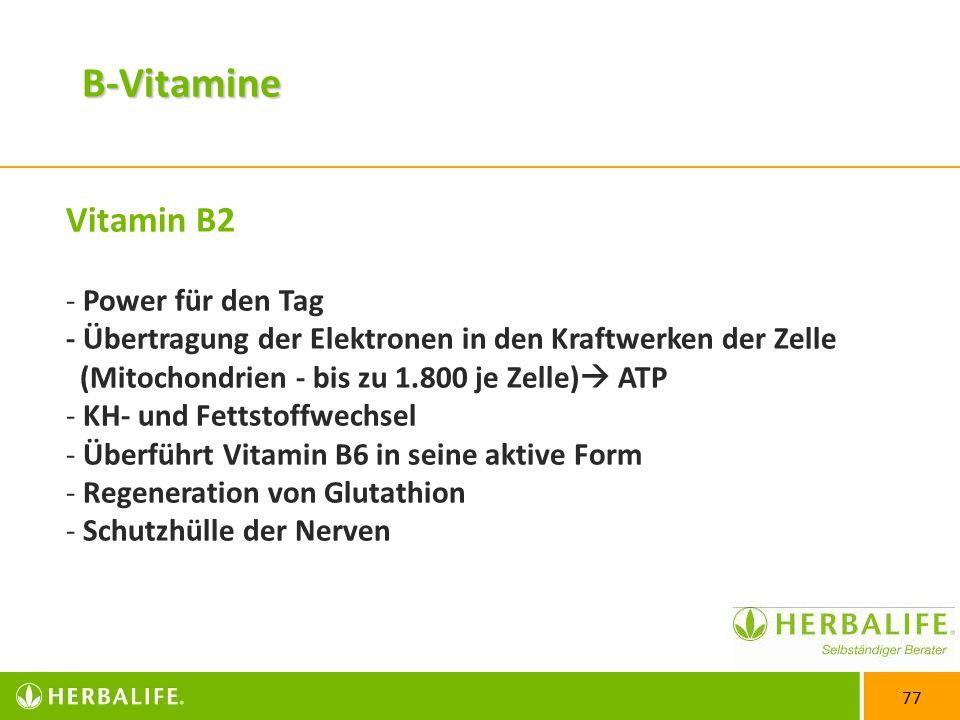 77 Vitamin B2 - Power für den Tag - Übertragung der Elektronen in den Kraftwerken der Zelle (Mitochondrien - bis zu 1.800 je Zelle)  ATP - KH- und Fettstoffwechsel - Überführt Vitamin B6 in seine aktive Form - Regeneration von Glutathion - Schutzhülle der Nerven B-Vitamine