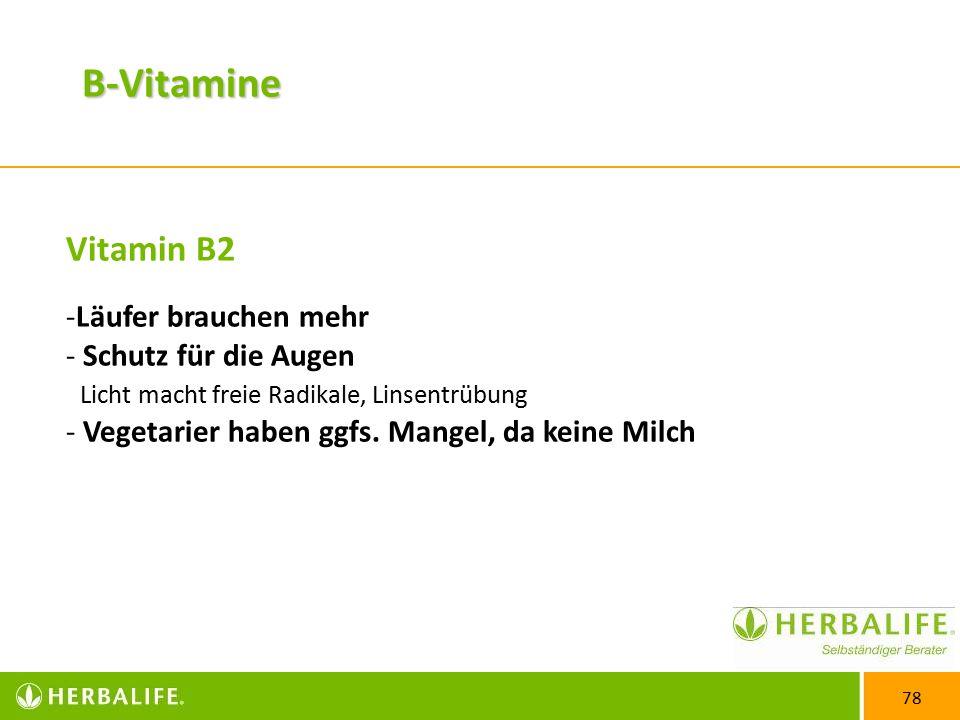 78 Vitamin B2 -Läufer brauchen mehr - Schutz für die Augen Licht macht freie Radikale, Linsentrübung - Vegetarier haben ggfs.