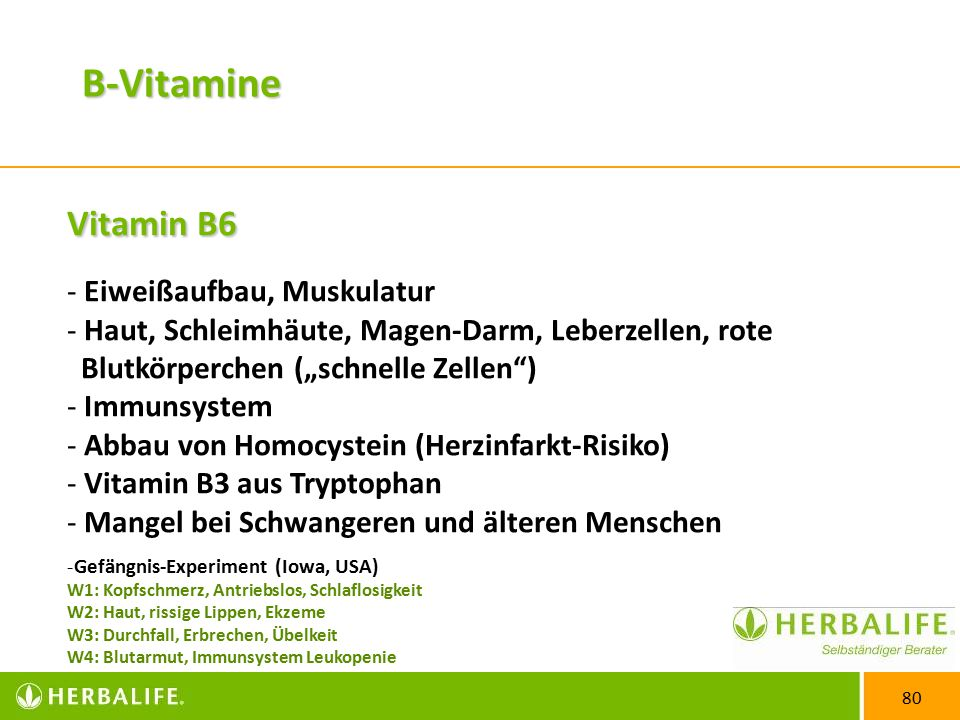 """80 Vitamin B6 - Eiweißaufbau, Muskulatur - Haut, Schleimhäute, Magen-Darm, Leberzellen, rote Blutkörperchen (""""schnelle Zellen ) - Immunsystem - Abbau von Homocystein (Herzinfarkt-Risiko) - Vitamin B3 aus Tryptophan - Mangel bei Schwangeren und älteren Menschen -Gefängnis-Experiment (Iowa, USA) W1: Kopfschmerz, Antriebslos, Schlaflosigkeit W2: Haut, rissige Lippen, Ekzeme W3: Durchfall, Erbrechen, Übelkeit W4: Blutarmut, Immunsystem Leukopenie B-Vitamine"""