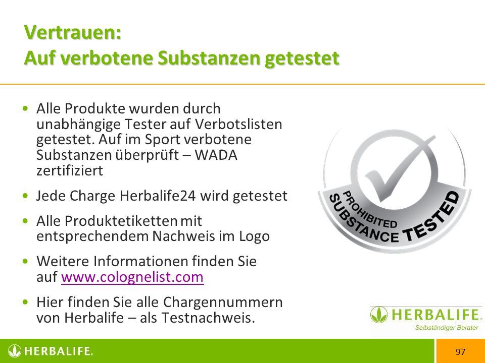 97 Vertrauen: Auf verbotene Substanzen getestet Alle Produkte wurden durch unabhängige Tester auf Verbotslisten getestet.