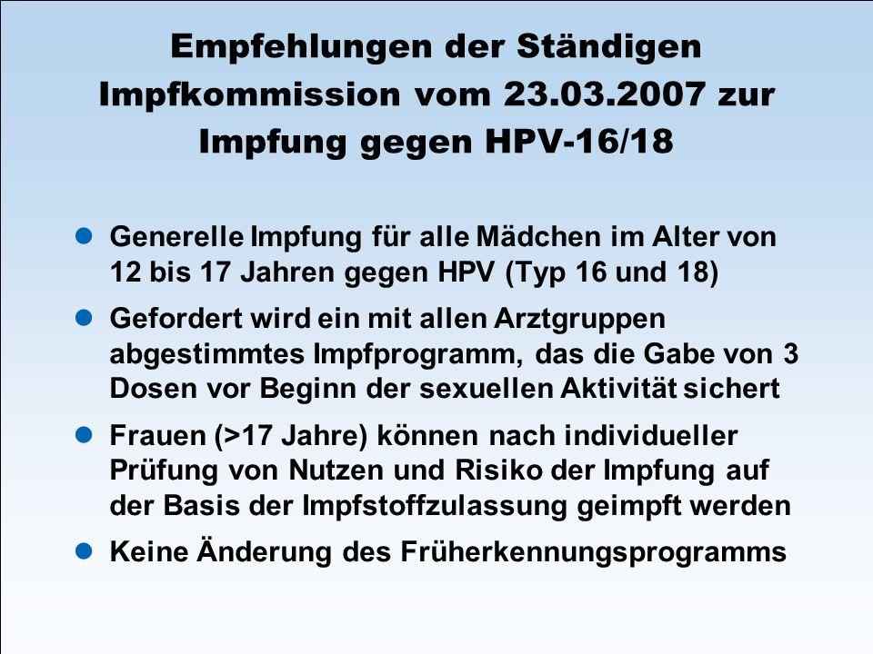 Empfehlungen der Ständigen Impfkommission vom 23.03.2007 zur Impfung gegen HPV-16/18 Generelle Impfung für alle Mädchen im Alter von 12 bis 17 Jahren
