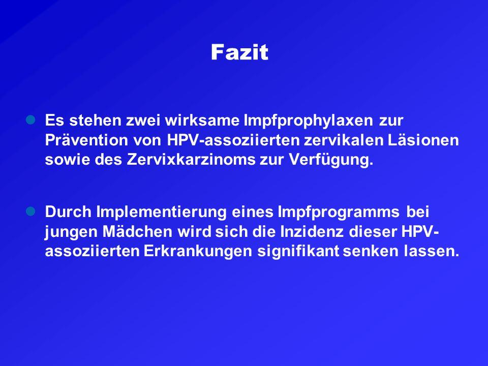 Fazit Es stehen zwei wirksame Impfprophylaxen zur Prävention von HPV-assoziierten zervikalen Läsionen sowie des Zervixkarzinoms zur Verfügung. Durch I