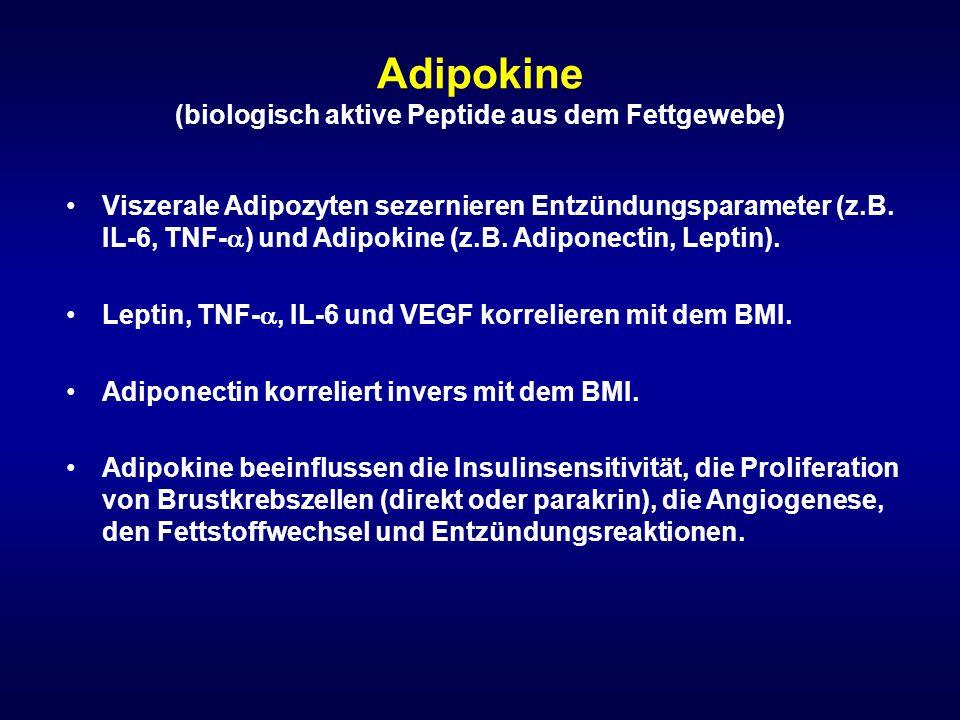Adipokine (biologisch aktive Peptide aus dem Fettgewebe) Viszerale Adipozyten sezernieren Entzündungsparameter (z.B. IL-6, TNF-  ) und Adipokine (z.B