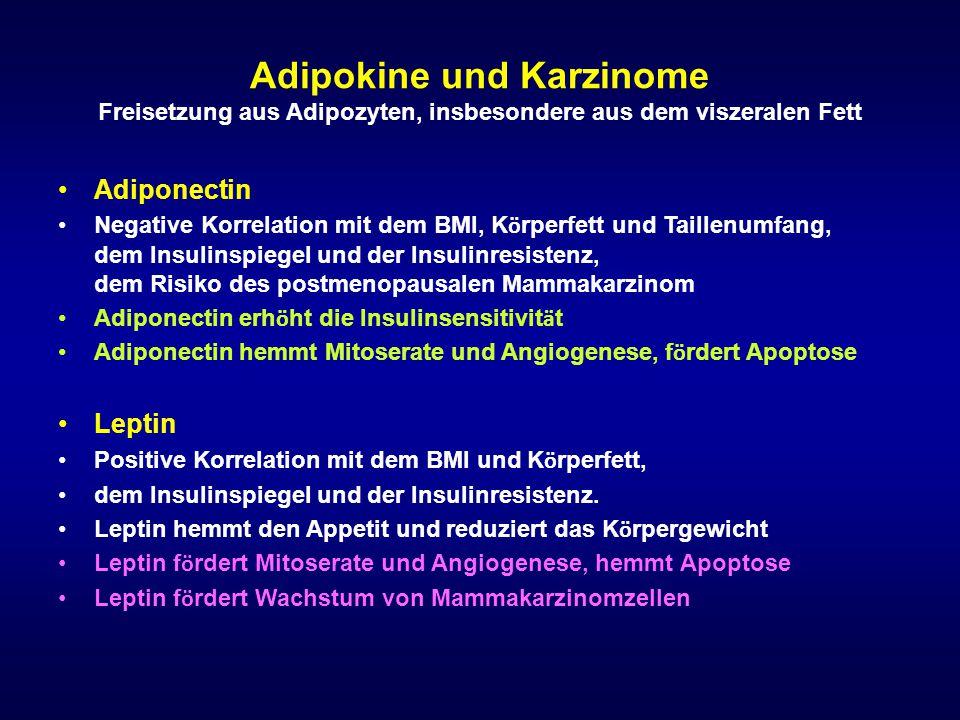 Adipokine und Karzinome Freisetzung aus Adipozyten, insbesondere aus dem viszeralen Fett Adiponectin Negative Korrelation mit dem BMI, K ö rperfett un