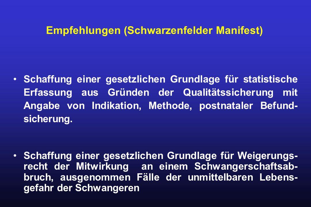 Schaffung einer gesetzlichen Grundlage für statistische Erfassung aus Gründen der Qualitätssicherung mit Angabe von Indikation, Methode, postnataler B