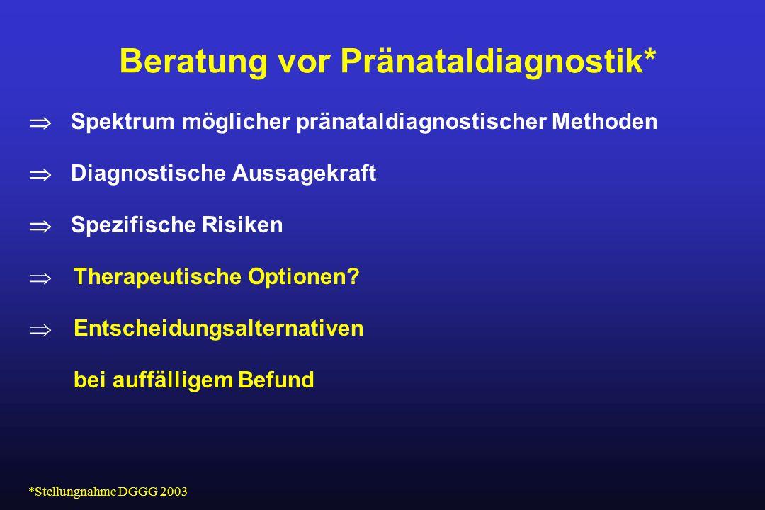 Beratung vor Pränataldiagnostik*  Spektrum möglicher pränataldiagnostischer Methoden  Diagnostische Aussagekraft  Spezifische Risiken  Therapeutis