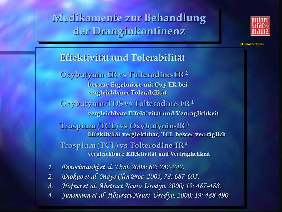 H. Kölbl 2005 Effektivität und Tolerabilität Oxybutynin-ER vs Tolterodine-ER 2 bessere Ergebnisse mit Oxy ER bei vergleichbarer Tolerabilität Oxybutyn