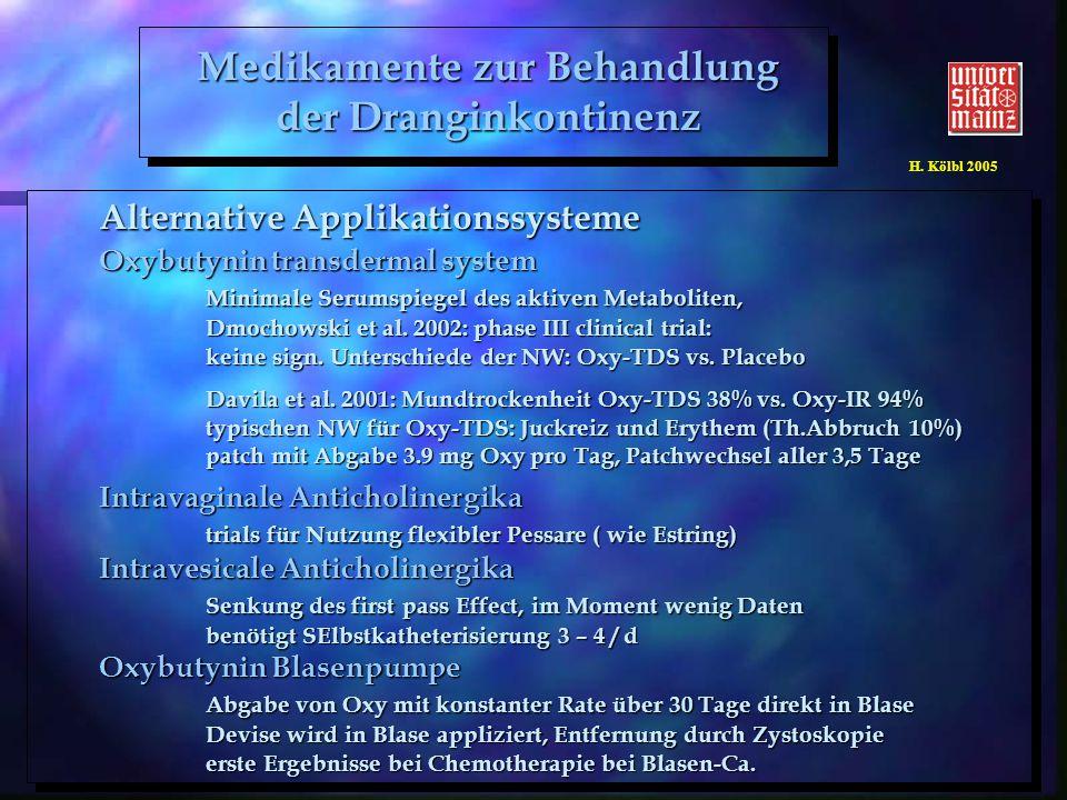 H. Kölbl 2005 Alternative Applikationssysteme Oxybutynin transdermal system Minimale Serumspiegel des aktiven Metaboliten, Dmochowski et al. 2002: pha