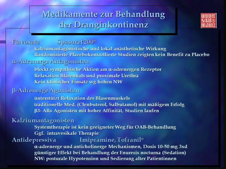 H. Kölbl 2005 FlavoxateSpasuret 200 o kalziumantagonistische und lokal anästhetische Wirkung Randomisierte Plazebokontrollierte Studien zeigten kein B