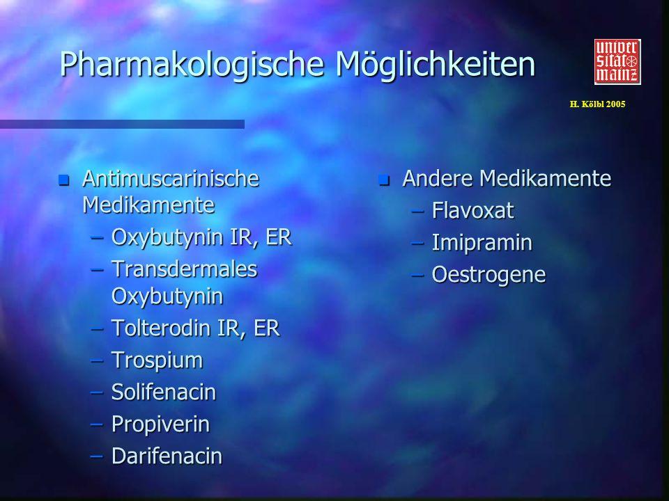 H. Kölbl 2005 Pharmakologische Möglichkeiten n Antimuscarinische Medikamente –Oxybutynin IR, ER –Transdermales Oxybutynin –Tolterodin IR, ER –Trospium