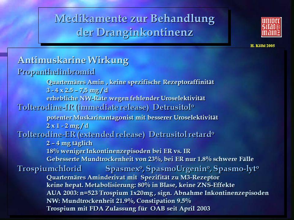 H. Kölbl 2005 Antimuskarine Wirkung Propanthelinbromid Quarternäres Amin, keine spezifische Rezeptoraffinität 3 - 4 x 2.5 – 7,5 mg / d erhebliche NW-R