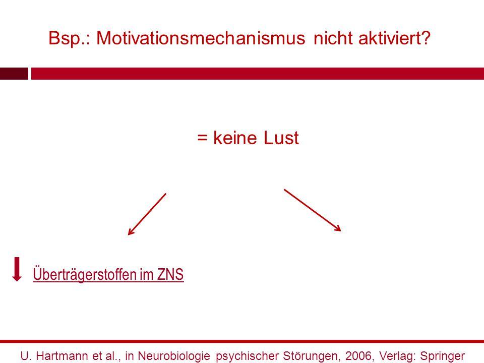 Bsp.: Motivationsmechanismus nicht aktiviert? Überträgerstoffen im ZNS U. Hartmann et al., in Neurobiologie psychischer Störungen, 2006, Verlag: Sprin