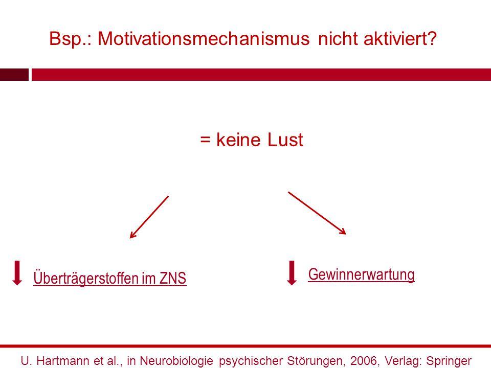 Bsp.: Motivationsmechanismus nicht aktiviert? Gewinnerwartung Überträgerstoffen im ZNS U. Hartmann et al., in Neurobiologie psychischer Störungen, 200